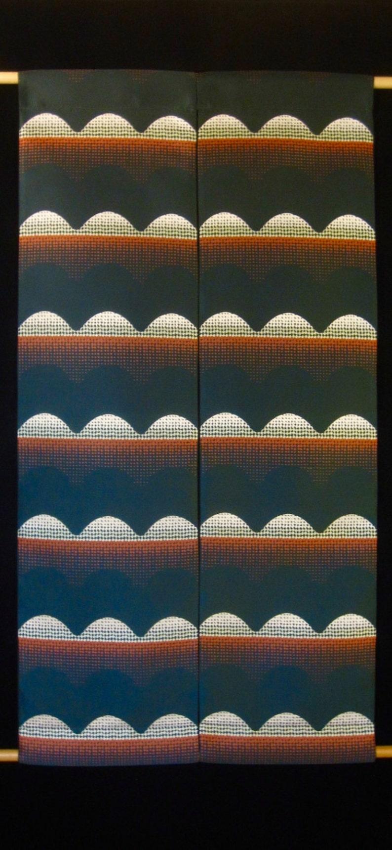 Vintage Mod 70s Fabric Large Wall Hanging Dark Pine Green Satin w Burnt Orange  Ivory Pop Pattern.