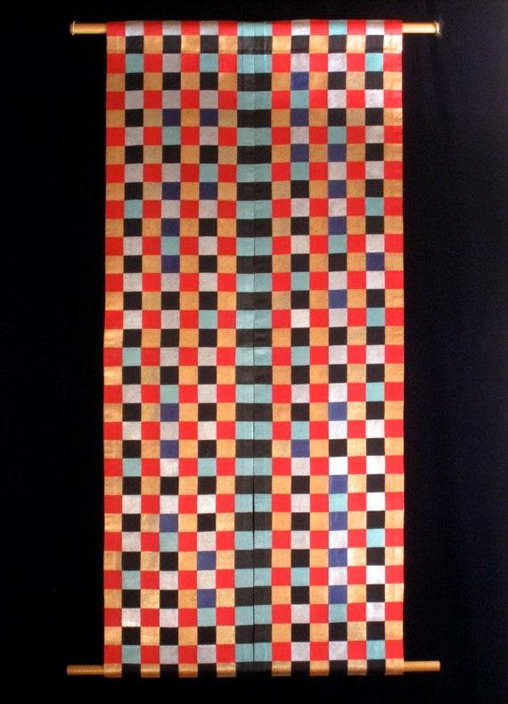 checkerboard original wall art hanging reversible painted etsy