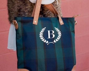 Monogrammed shoulder bag, Womens Monogrammed Tote Bag, plaid bag, monogrammed gifts, gifts for women