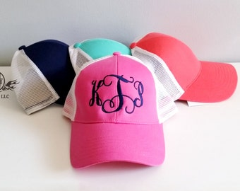 Monogram trucker hat, monogrammed womens trucker hat, gift for her, monogram cap, gifts under 15, monogrammed gifts