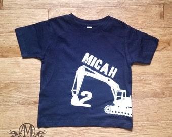 Construction birthday shirt, digger shirt, personalized shirt, excavator shirt, boys birthday shirt, 2nd birthday shirt, construction party