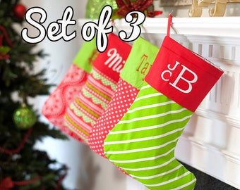 personalized family christmas stockings set of 3 monogrammed ted and green stockings festive holiday decor