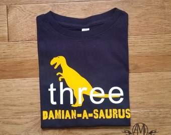 Personalized dinosaur birthday shirt, t rex dinosaur birthday shirt