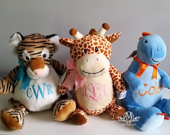 Personalized baby gift, monogrammed baby gift,  personalized stuffed animal, stuffed giraffe, dinosaur tiger, new baby gift, new baby gift