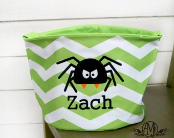 Personalized Spider trick or treat bag, Personalized Halloween bags, halloween buckets