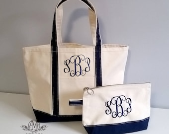 Monogrammed Tote Bag and cosmetic bag set, gift set for women, monogram tote, monogram make up bag, Bridesmaids gift, gift for her