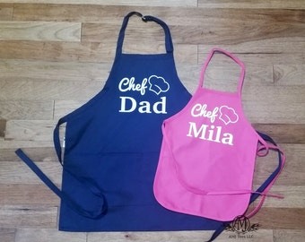 Father and daughter matching Aprons, fathers day gift, cooking apron set, personalized gift for dad