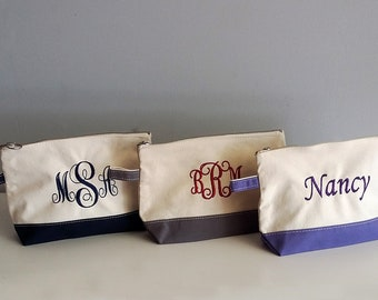 Personalized Canvas Make-up bag, Monogram cosmetic bag, personalized womens, womens gift, mother's day gift, Bridesmaid gift