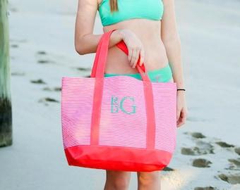 Monogram Tote Bags, monogrammed tote bag, pinstripe tote bag, beach bag, womens gift, Bridesmaid gifts