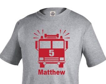 Firetruck birthday shirt, toddler fire truck birthday shirt, boy birthday shirt, personalized shirts