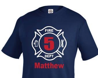 Fireman Birthday Shirt, boy birthday shirt, firetruck birthday, fireman shirt