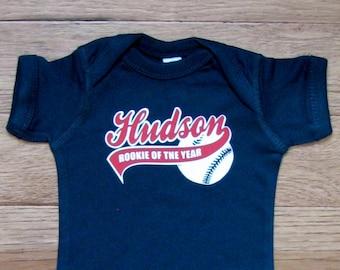 Personalized baseball rookie of the year, baby baseball bodysuit, 1st birthday boy, baseball 1st birthday