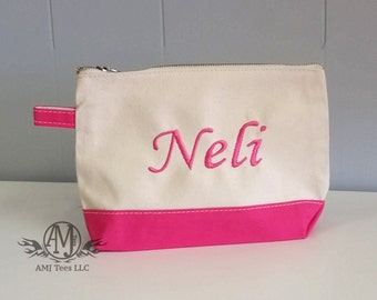 Personalized Make up bag, Monogram cosmetic bag, canvas cosmetic Bag, womens gift, Bridesmaid gift, gift for her