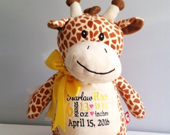 Personalized baby announcement stuffed giraffe, monogrammed baby gift, personalized baby gift, new baby gift, baby girl