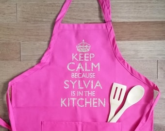 Personalized Keep Calm apron, womens cooking apron, personalized apron, gift for women, mothers day personalized, gift for mom