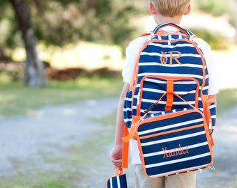 Backpack and lunch box set, monogrammed backpack for boys, Navy and Orange Line-Up Backpack and Lunch Box