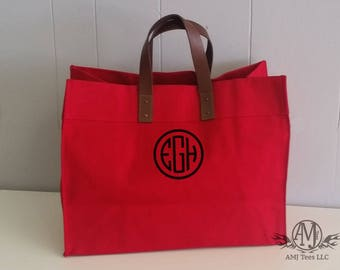 Monogrammed Tote Bag, Large canvas tote bag, beach bag, Utility Tote, womens gift, gift for her, monogrammed gift
