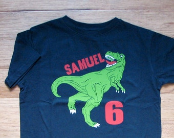 T rex dinosaur birthday shirt, Personalized dinosaur shirt, boys dinosaur birthday shirt