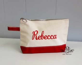 Cosmetic bag, Personalized Canvas Make up bag, womens gift, mother's day gift, Bridesmaids gift, mom gift