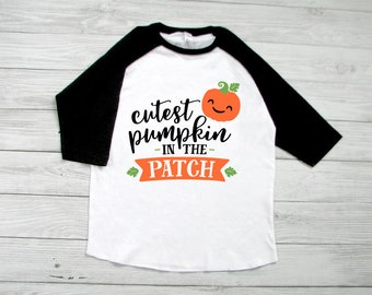 cutest pumpkin in the patch kids halloween shirt toddler halloween raglan baseball tee cute and funny halloween tees
