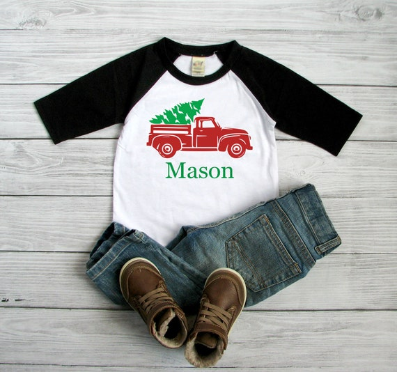 999addd1e513 Red vintage truck Christmas shirt for kid Personalized