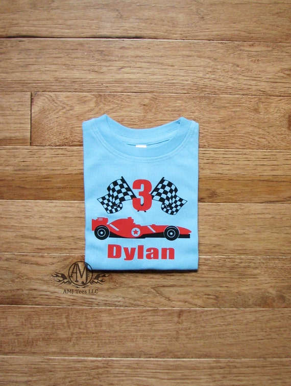 Race Car Birthday Shirt Boys 3rd Boy Personalized Toddler Tees