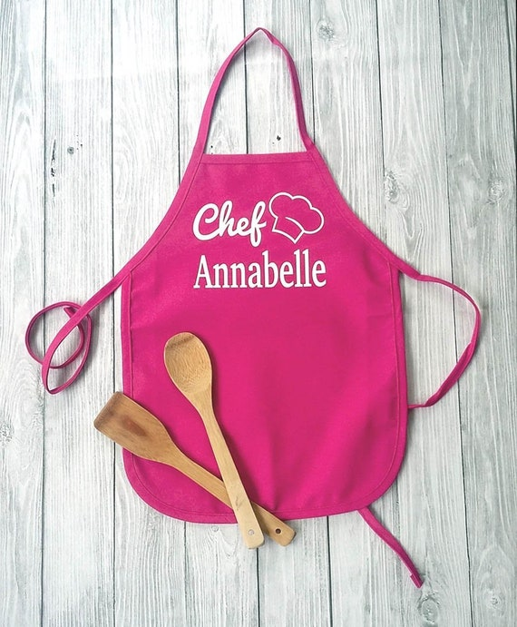 personalized kids apron  girls pink cooking apron  girls baking apron  personalized gift for