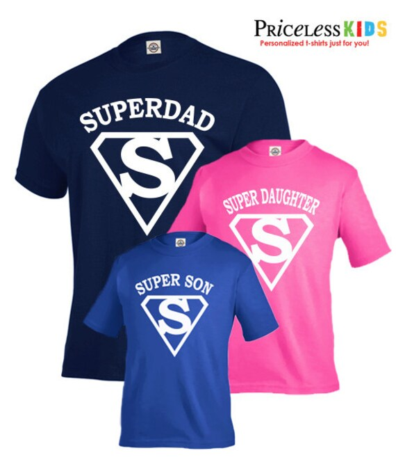 Father Son Matching Shirts, Father Daughter Shirts, Superdad Shirt, Supercute, Daddy and Me Outfit, Father's Day Gift, Matching Family