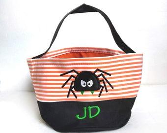 Personalized Halloween Treat Bags, Spider Trick or Treat Bag, Halloween Bucket Green Chevron