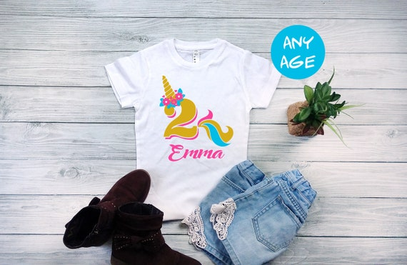 2nd Birthday Shirt Unicorn Outfit Girl Personalized Girls Fitted