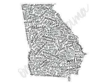 Hand Lettered Georgia State Art - DIGITAL DOWNLOAD