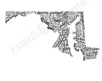 Hand Lettered Maryland State Art - DIGITAL DOWNLOAD
