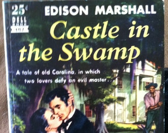 Vintage Paperback Dell 487 Castle In the Swamp by Edison Marshall 1951 NF Condition  Mapback
