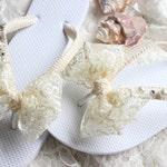 Boho wedding Ivory lace bridal flip flops bride, bridal shower gift, dancing shoes, romantic wedding, shoes, honeymoon gift, lace sandals