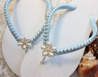 d79e24e819930 Bling flip flops wedding Sky Blue Satin embellished flip flops