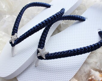 5b510787da950 Beach wedding Flip Flops DARK Navy blue. Custom wedding sandals with  starfish. Bride dancing sandals gift