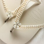 Ivory bridal Havaianas flip flops gift for bride from maid honor gift, bridesmaid, sister, getting ready on her wedding day