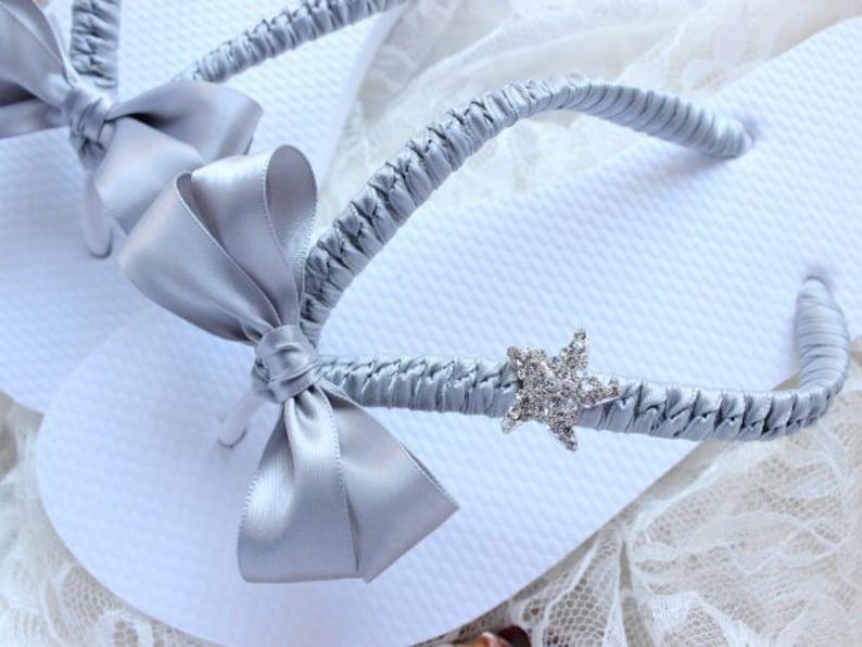 68d24bbb9 Women Flip Flops Gray satin Bow Wedding Sandals Bridal