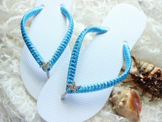 Custom bride flip flops turquoise blue