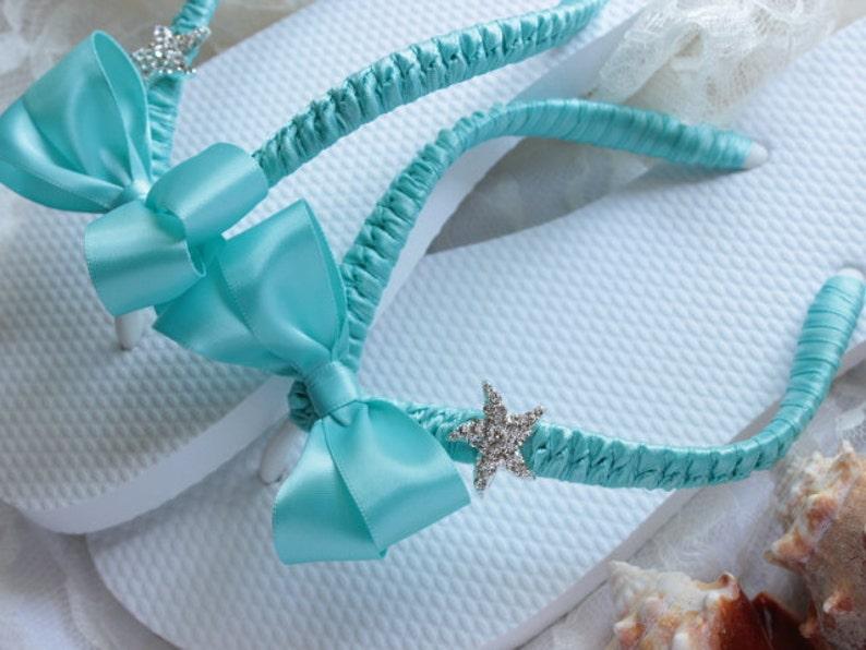 66f24b8475590 Bridal Flip Flops Aqua Blue Bridal Sandals Starfish