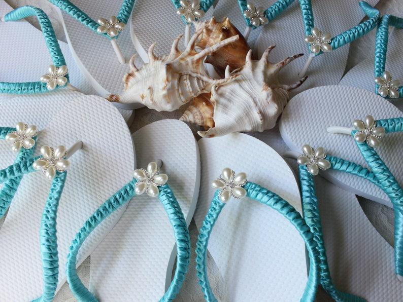 Bridal luncheon favors Custom Wedding shoes Bridesmaid gift Bachelorette party favors FLIP FLOPS 6 Pairs AQUA Blue Wedding sandals