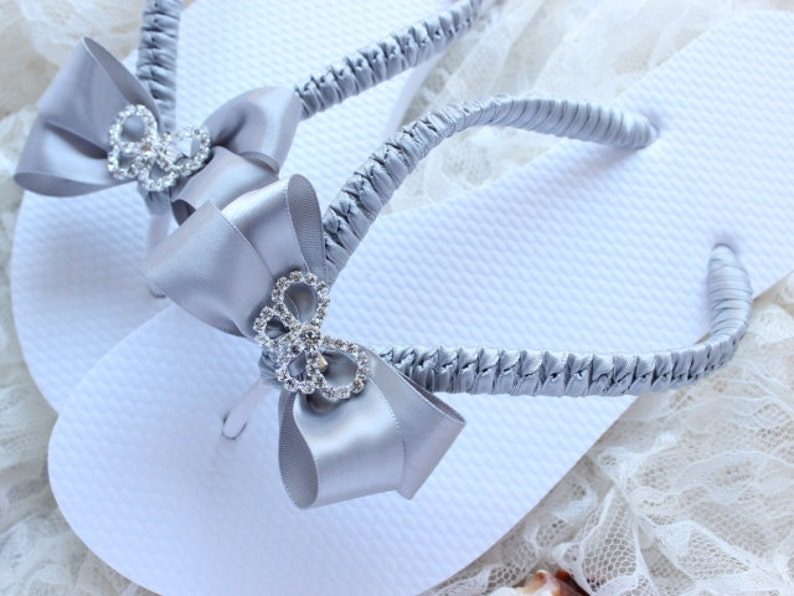 14af9bd57 Grey Silver wedding flip flops Bridal flip flops decorated
