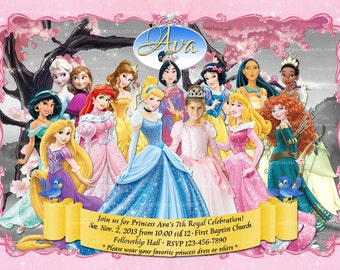 Disney Princess Party Einladung Alle Prinzessinnen Geburtstag Etsy