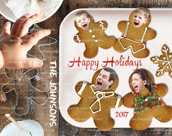 Personalize Funny Christmas Card, Gingerbread Cookie Baby Hand Scare Holiday