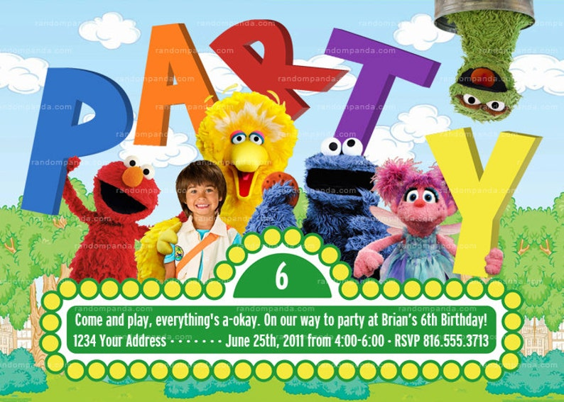 Personalize Sesame Street Invite Party Cookie Monster Abby Birthday