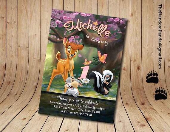 Pink Bambi Invitation, Bambi Thumper Girl Birthday Party