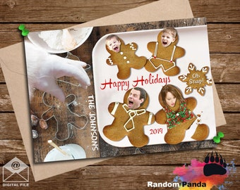 Digital Delivery  Personalize Funny Christmas Card, Gingerbread Cookie Santa Hand Scare Holiday