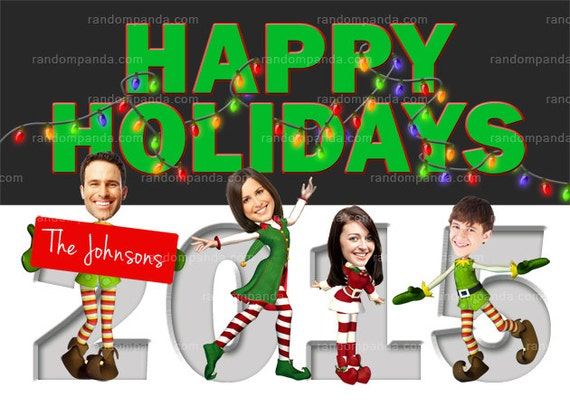 Personalize Funny Christmas Elf Holiday Card Elves Family   Etsy