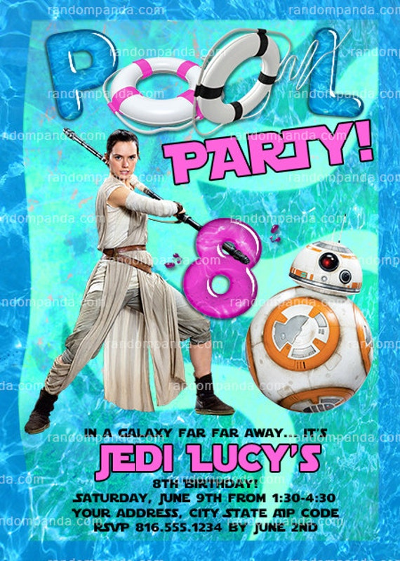 Star Wars Invitation Rey Swimming Pool Party BB8 Birthday Invite