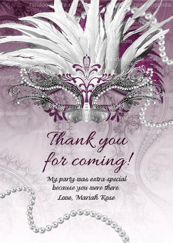 Plum Masquerade Ball Thank You Card Sweet 16 Quinceanera Etsy